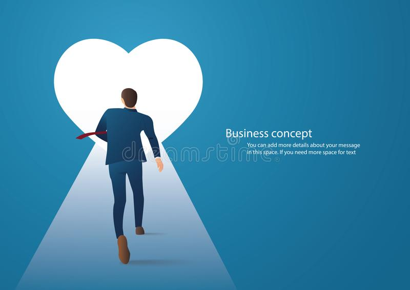 Équipez le fonctionnement dans le grand trou de coeur, essai d'homme pour trouver l'amour illustration libre de droits