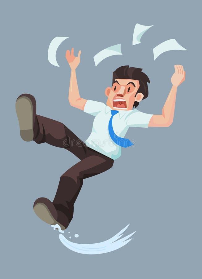 Équipez le glissement et la chute sur le plancher humide illustration stock