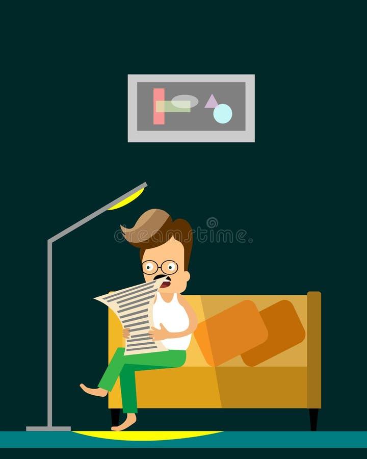 Équipez le journal du relevé Illustration plate de bande dessinée L'homme s'assied sur un divan dans la chambre d'étude illustration de vecteur