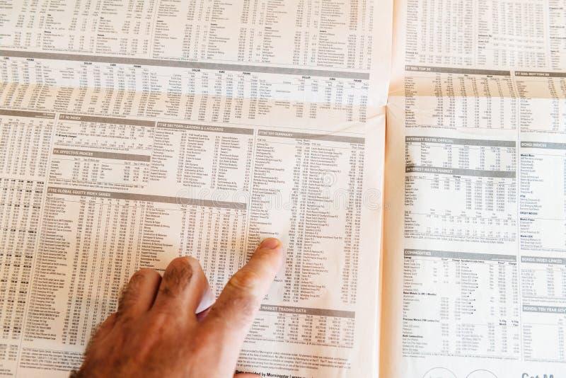 Équipez le journal Financial Times de lecture avec le résumé de FTSE 100 image stock
