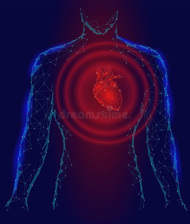 Équipez le modèle de la maladie de médecine des battements de coeur de silhouette 3d bas poly Fond bleu rouge de point de lueur d illustration stock