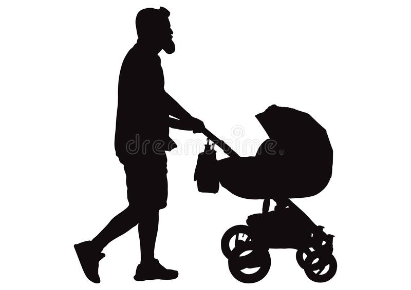 Équipez le père marchant avec la silhouette de voiture d'enfant, vecteur illustration stock