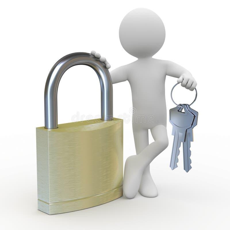 Équipez le penchement sur un cadenas énorme avec des clés à disposition illustration stock