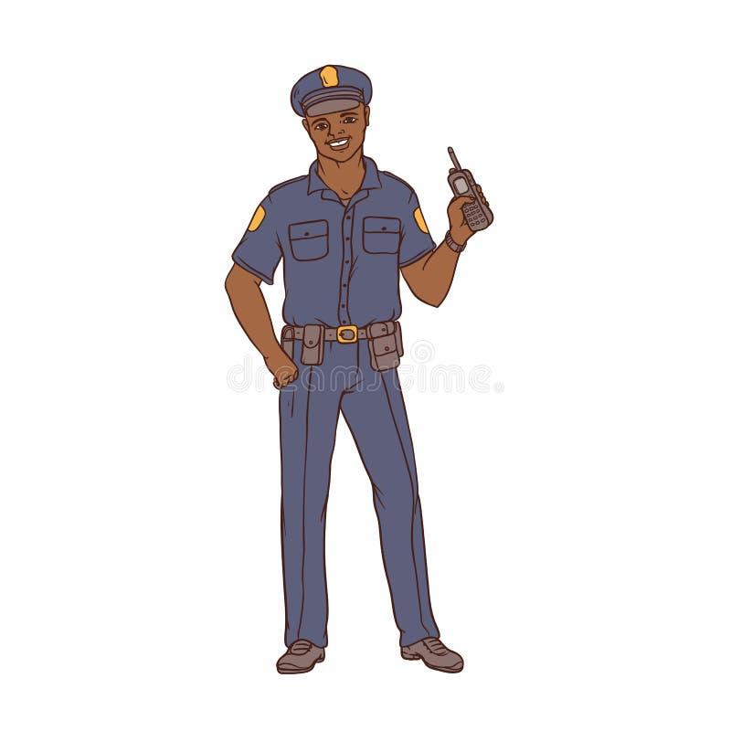 Équipez le policier noir dans l'uniforme et le chapeau avec une radio portative à disposition Sécurité de travailleur et police L illustration libre de droits
