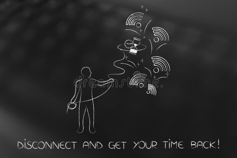 Équipez le sablier de saisie parmi des logos de Wi-Fi, récupérez votre temps illustration de vecteur