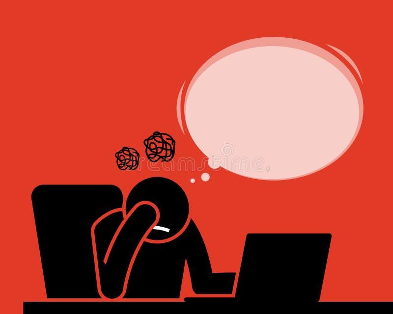 Équipez le sentiment alimenté et déçu après des actualités voyantes et de lectures illustration libre de droits