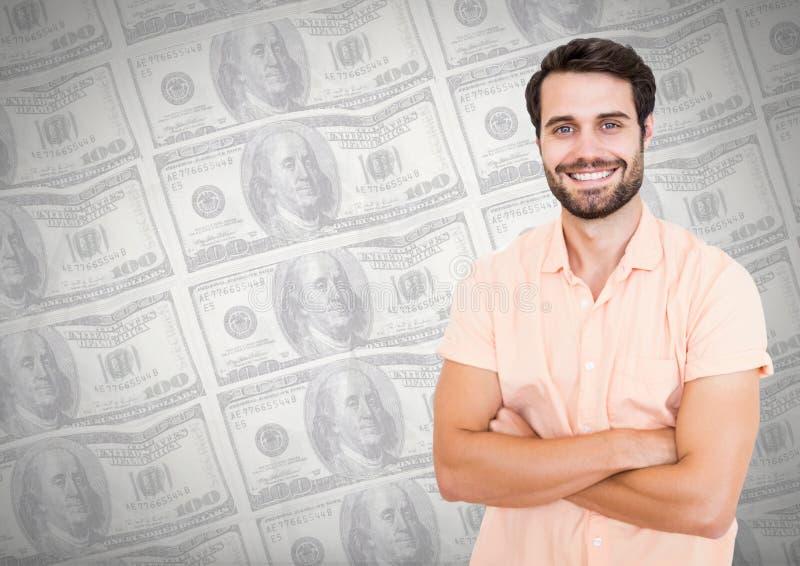 Équipez le sourire avec des bras a plié l'avant d'I des notes d'argent illustration libre de droits