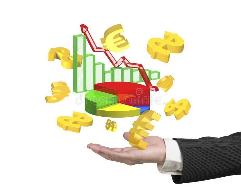 Équipez le symbole d'euro de symboles dollar de graphiques de croissance d'affaires d'apparence de main illustration de vecteur