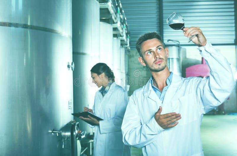 Équipez le travailleur se tenant avec le verre de vin dans la section de fermentation dessus photographie stock