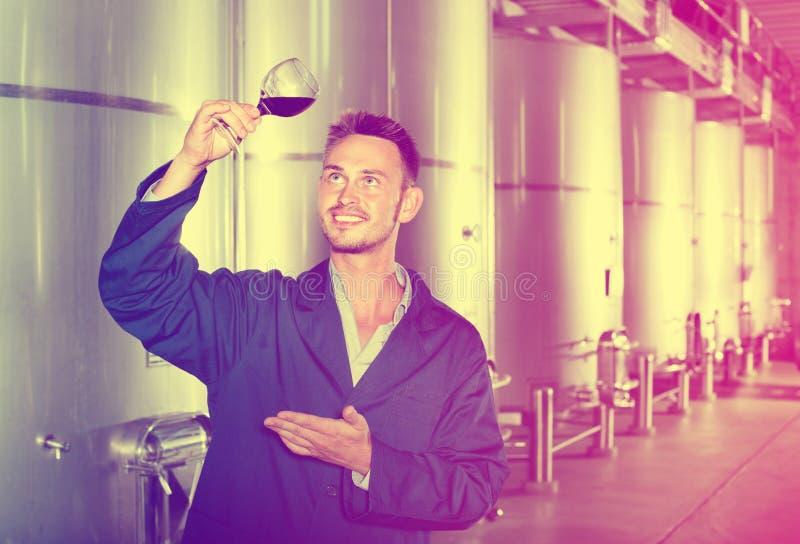 Équipez le travailleur se tenant avec le verre de vin dans la section de fermentation dessus photo stock