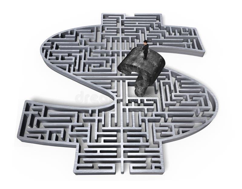 Équipez le vieux centre gris debout de labyrinthe de l'argent 3d de point d'interrogation illustration stock