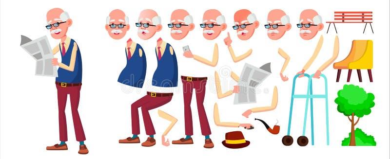 équipez le vieux vecteur Person Portrait supérieur Les personnes âgées âgé Ensemble de création d'animation Émotions de visage, g illustration stock