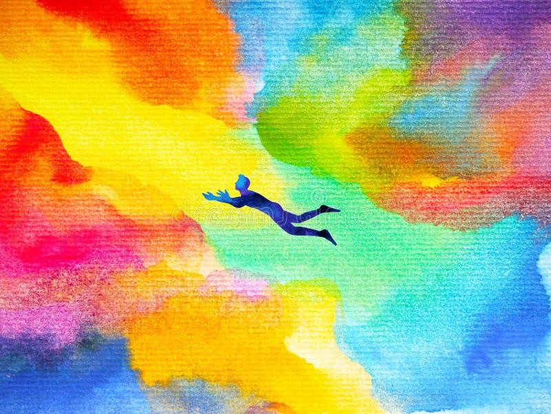 Équipez le vol dans l'illustration rêveuse colorée abstraite d'univers illustration libre de droits