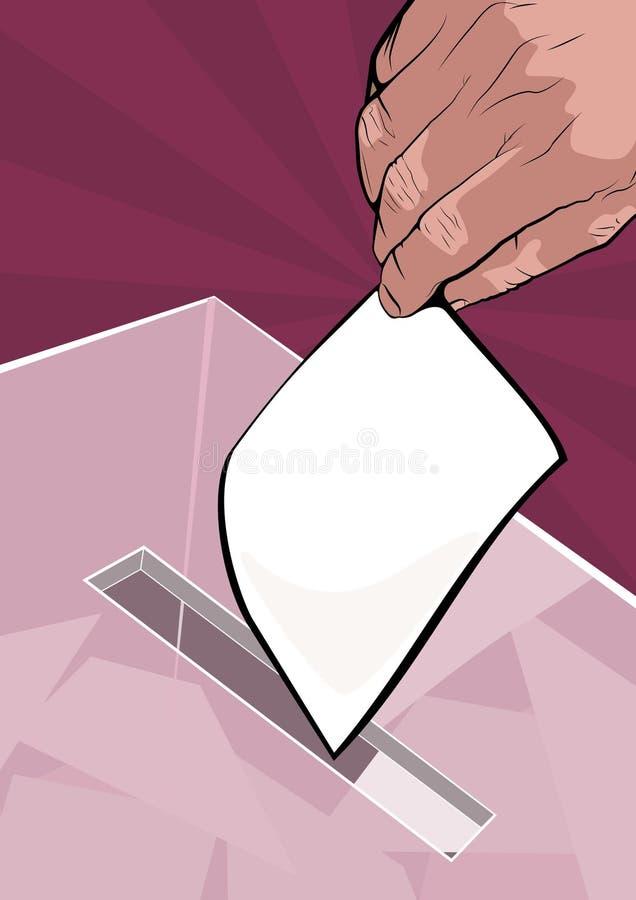 Équipez le vote en plaçant son vote dans la boîte photo stock