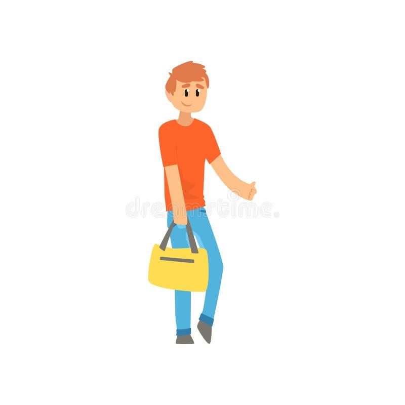 Équipez le voyageur avec le sac, type d'auto-stoppeur essayant d'arrêter une voiture sur une route à la main, en voyageant par ve illustration stock