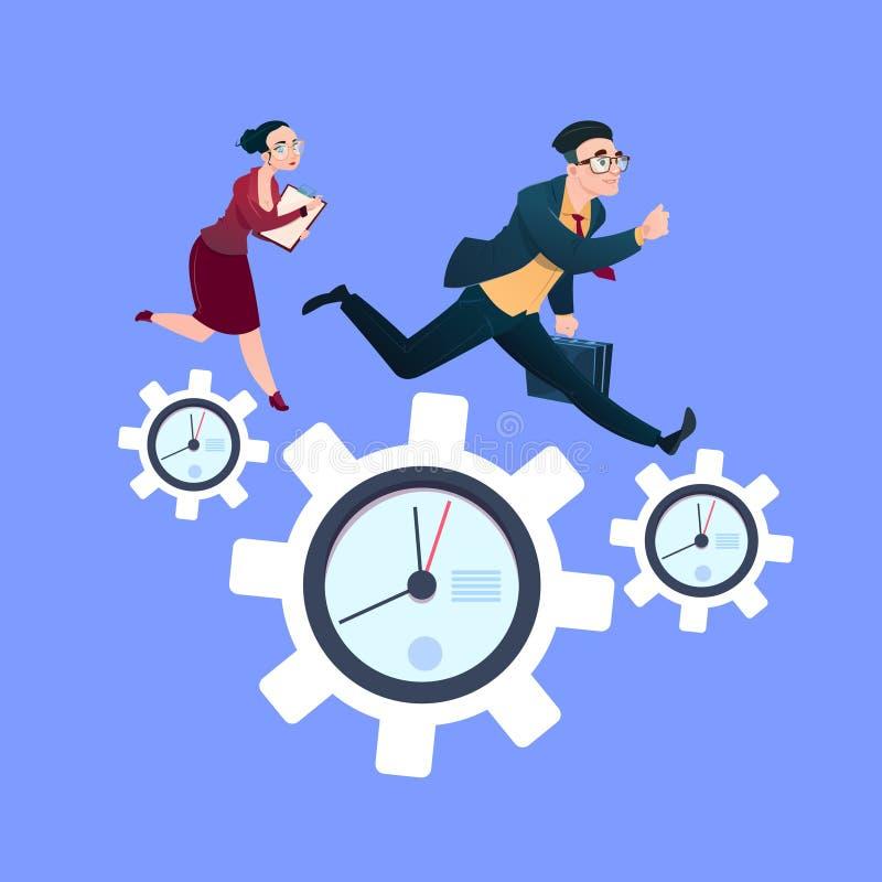 Équipez les couples de femme fonctionnant sur des roues dentées d'horloge au-dessus d'appartement bleu de concept de stratégie de illustration libre de droits
