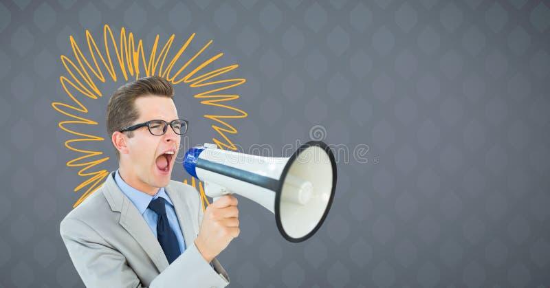 Équipez les cris dans le haut-parleur avec des griffonnages jaunes sur le fond gris photo libre de droits