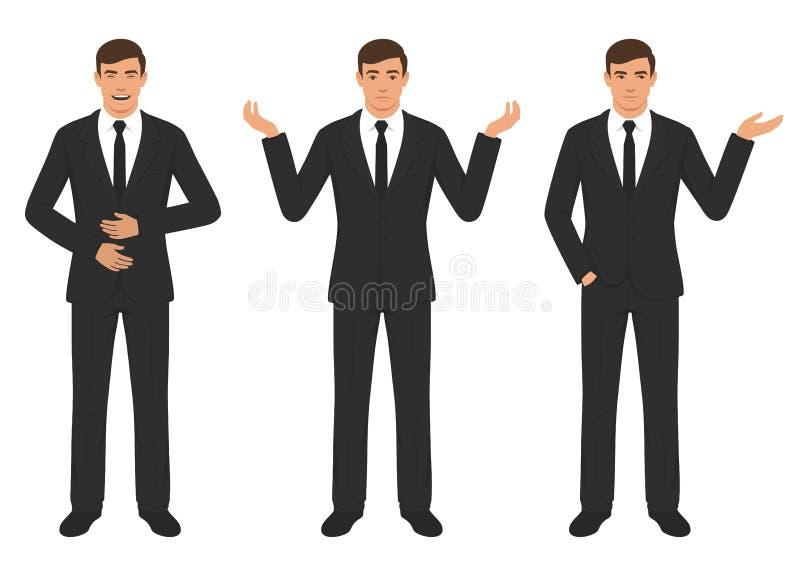Équipez les expressions de caractère avec le geste de mains, émotion différente d'esprit d'homme d'affaires de bande dessinée illustration stock