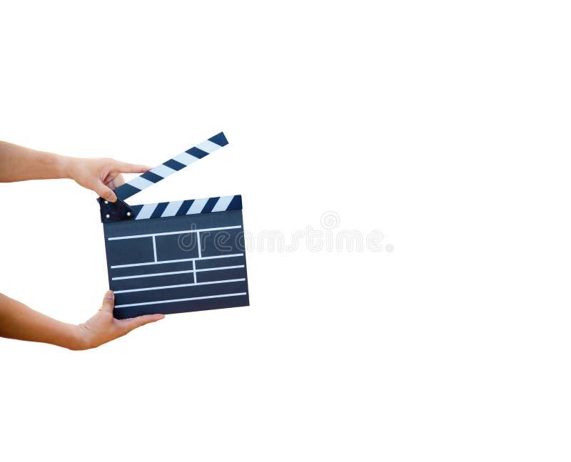 Équipez les mains jugeant le clapet de film d'isolement sur le fond blanc Panneau montré d'ardoise employez les couleurs blanches illustration de vecteur