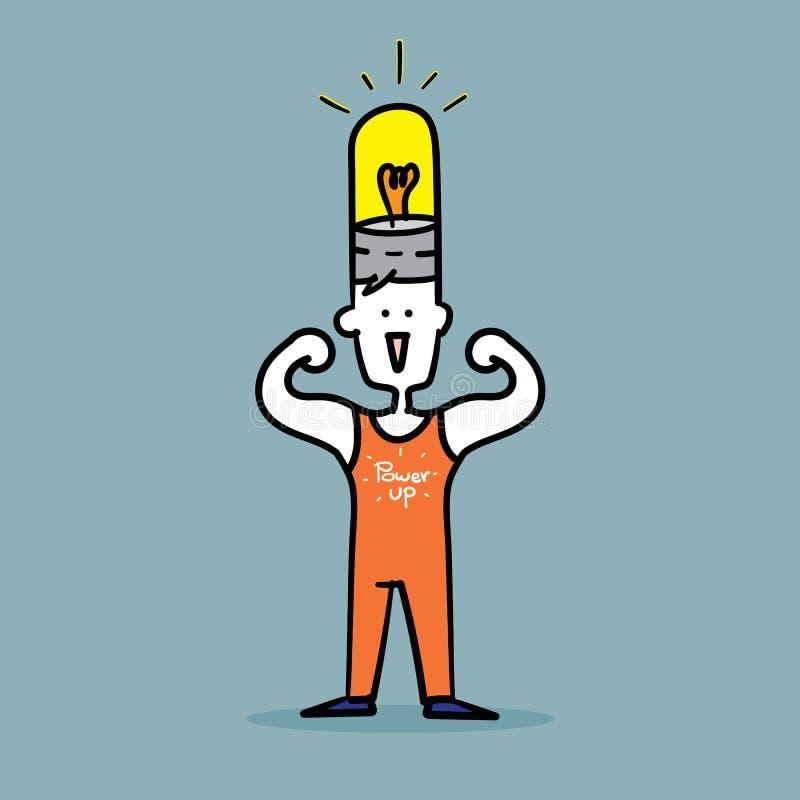 Équipez les muscles de câble pour montrer la puissance forte vers le haut de l'idée illustration de vecteur
