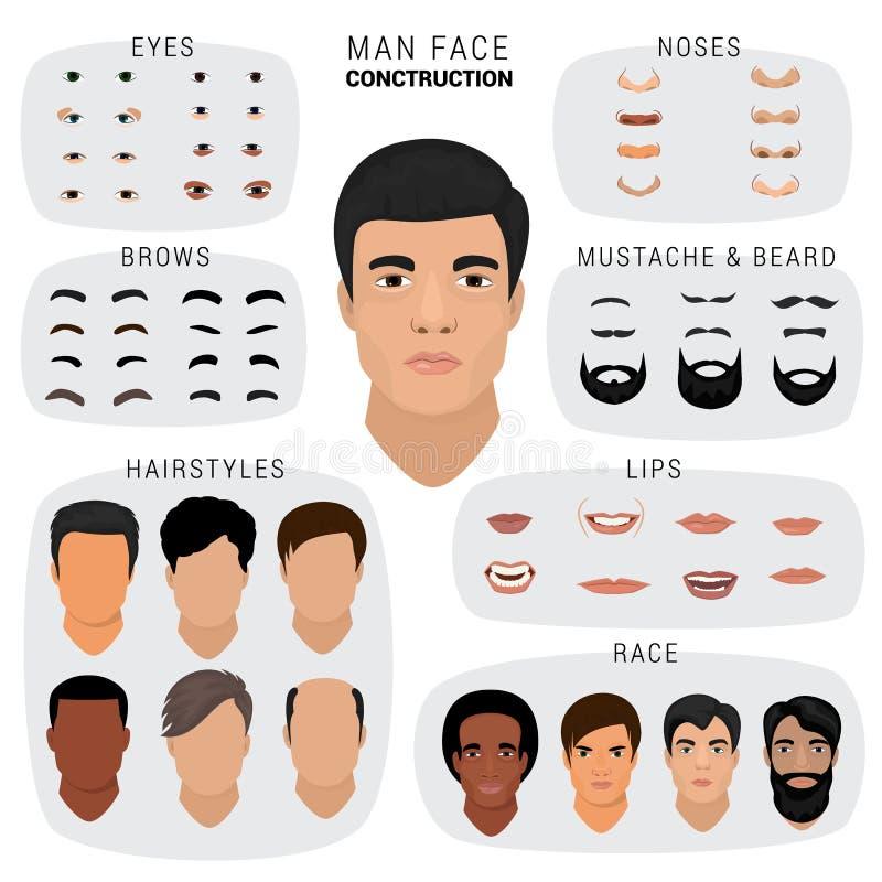 Équipez les yeux de nez de peau de tête de création d'avatar de caractère masculin de vecteur de constructeur de visage avec l'en illustration de vecteur
