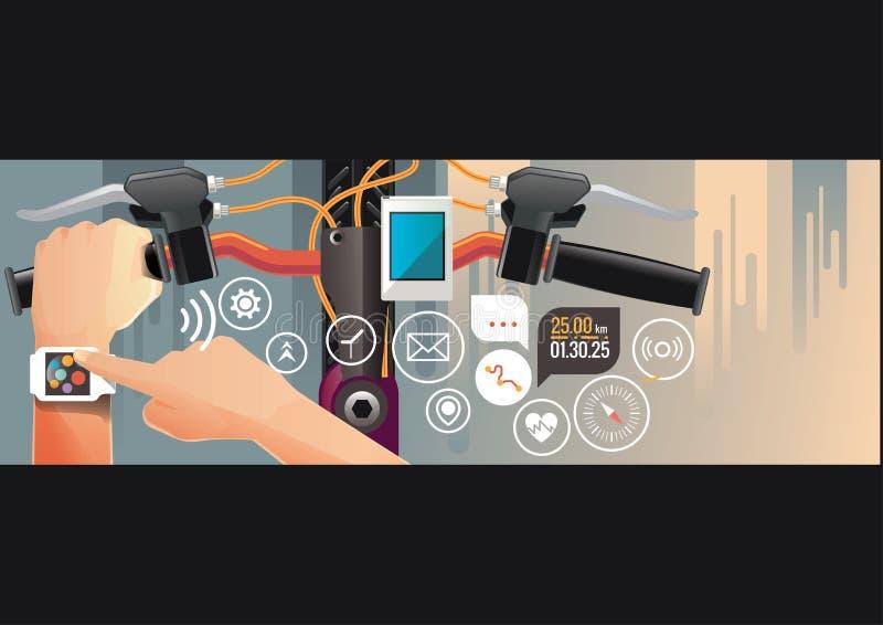 Équipez monter un vélo avec un moniteur futé de fréquence cardiaque de montre image stock