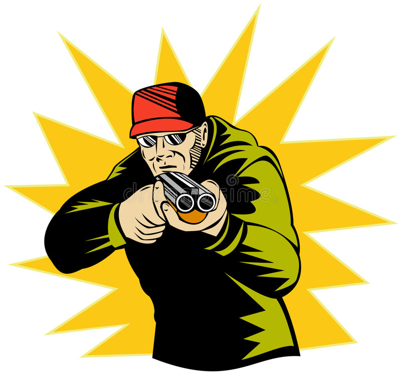 Équipez orienter le fusil de chasse vous illustration stock