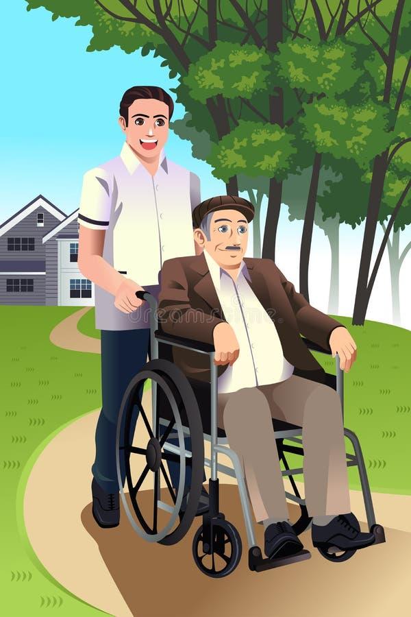 Équipez pousser un homme supérieur dans un fauteuil roulant illustration de vecteur