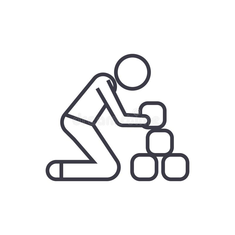 Équipez prendre à des briques l'icône linéaire, signe, le symbole, vecteur sur le fond d'isolement illustration de vecteur
