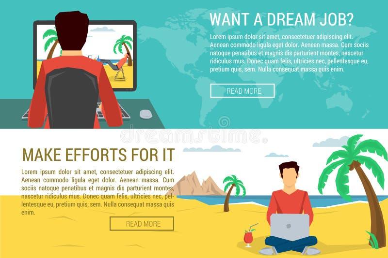 Équipez rêver un autre homme travaillant à l'endroit agréable illustration libre de droits