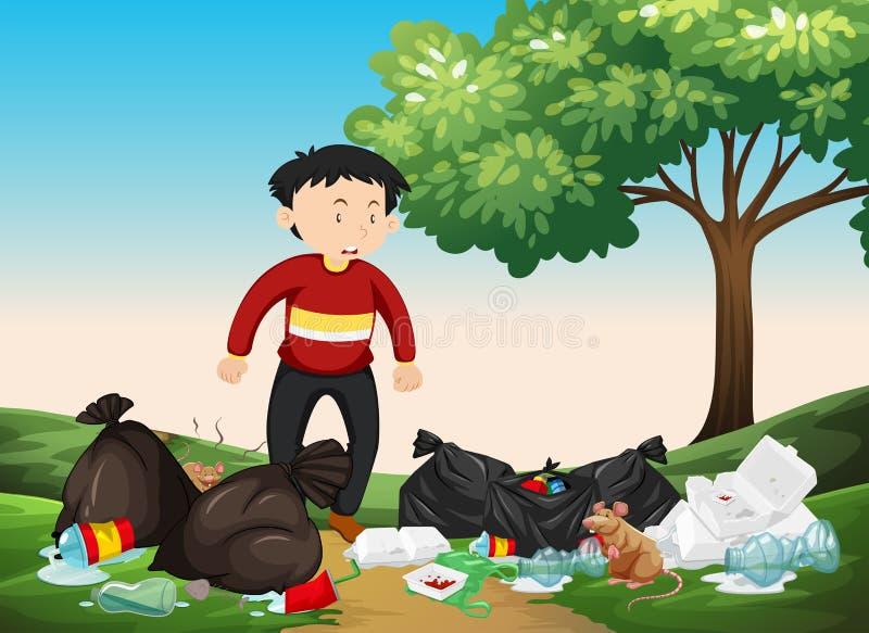 Équipez regarder la pile des déchets en parc illustration de vecteur