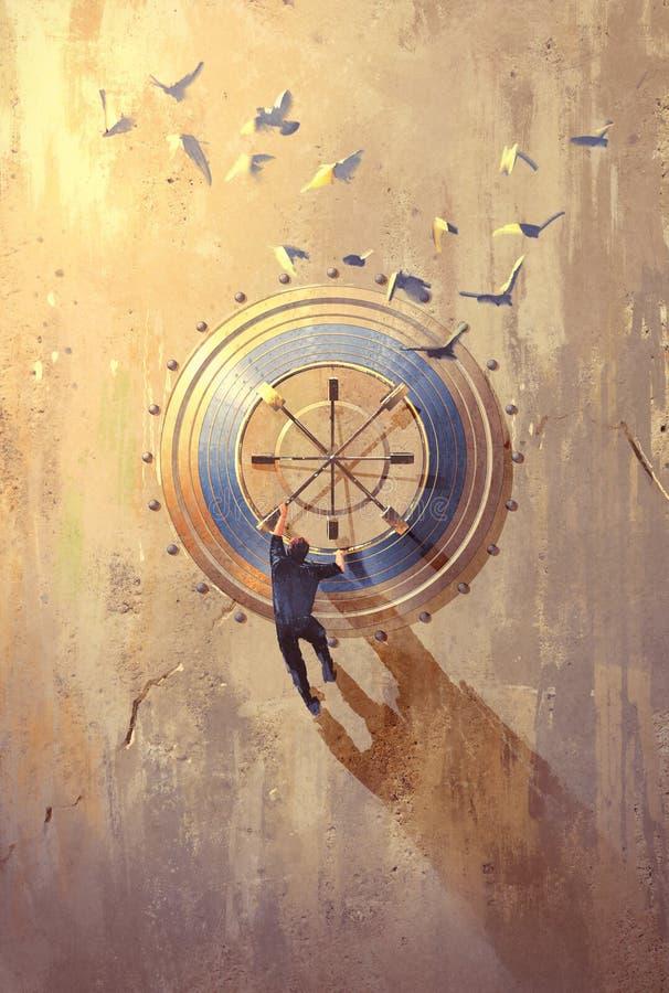 Équipez s'élever sur le mur en pierre essayant d'ouvrir le coffre-fort illustration de vecteur