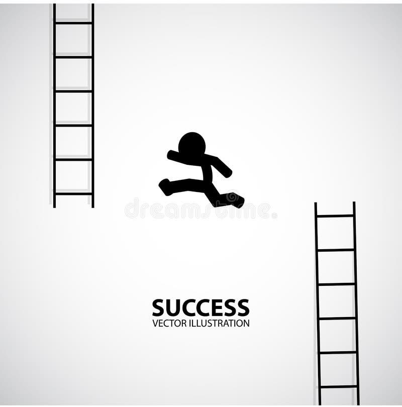 Équipez sautent du bas escalier au haut escalier Conception graphique de silhouette Bille 3d différente illustration libre de droits