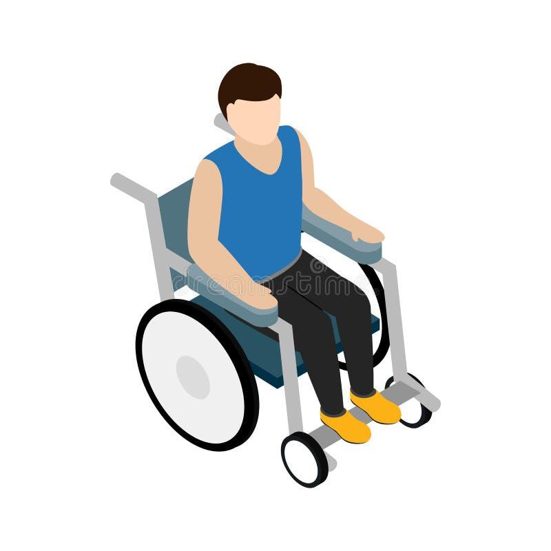Équipez se reposer sur l'icône de fauteuil roulant, le style 3d isométrique illustration de vecteur