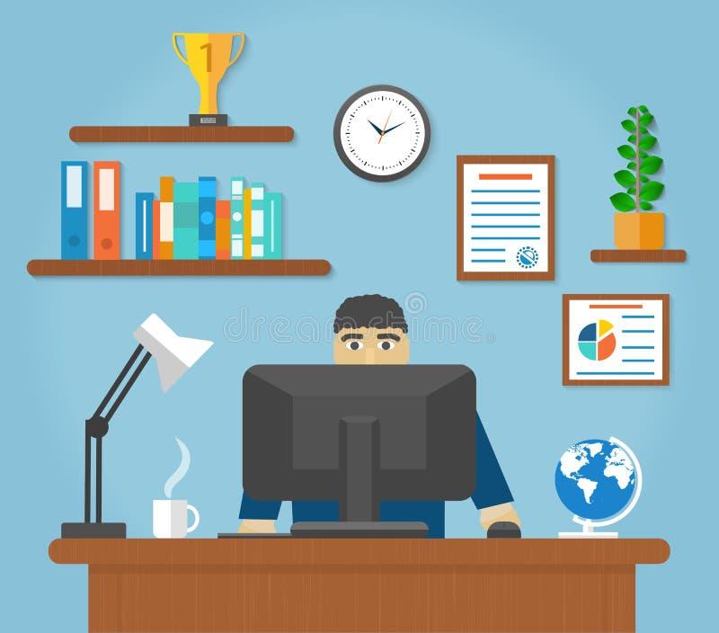 Équipez se reposer sur la chaise à l'avant de table de l'ordinateur illustration libre de droits