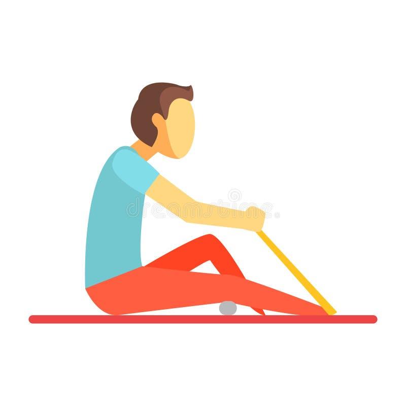 Équipez se reposer sur un tapis et l'exercice avec une bande élastique et une petite boule Personnage de dessin animé coloré illustration de vecteur