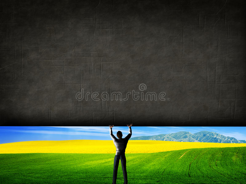 Équipez soulever un mur en béton découvrant un nouveau meilleur monde illustration libre de droits