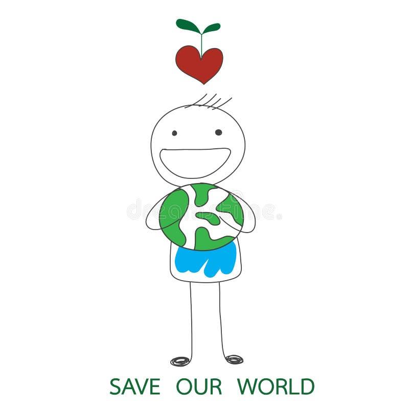 Équipez tenir le monde vert et le coeur rouge avec l'usine de croissance sur son h illustration stock