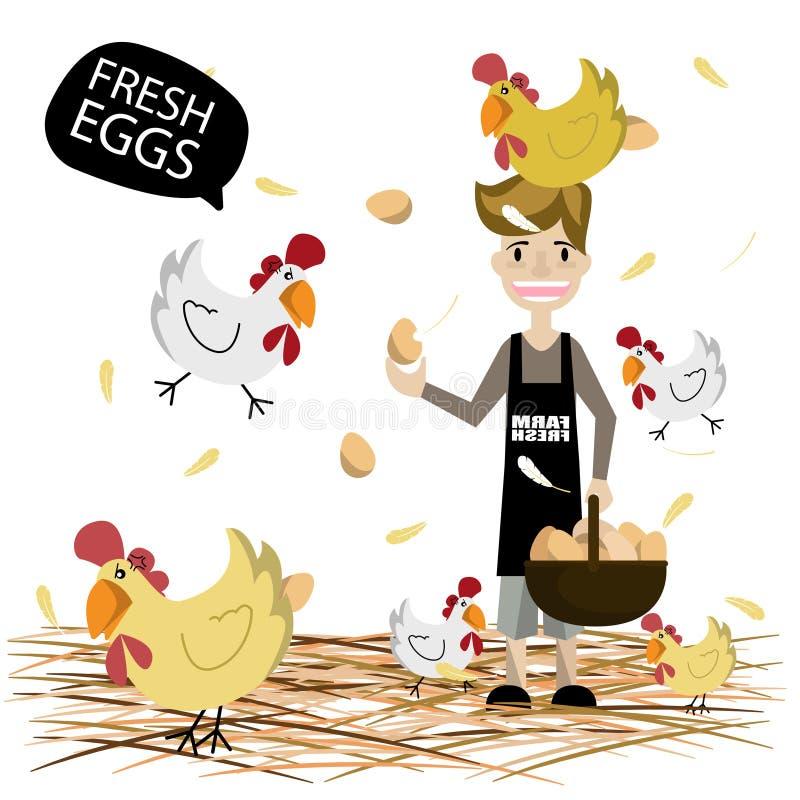 Download Équipez Tenir Un Panier Avec Les Oeufs Frais D'agriculteur Illustration de Vecteur - Illustration du nature, ferme: 76085063