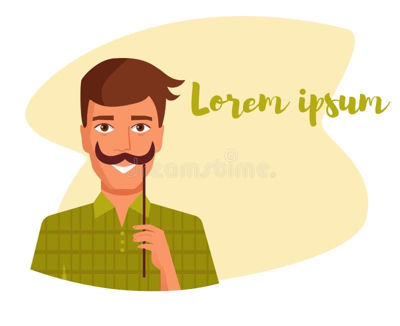 Équipez tenir une fausse moustache sur un vecteur de bâton cartoon Art d'isolement illustration de vecteur