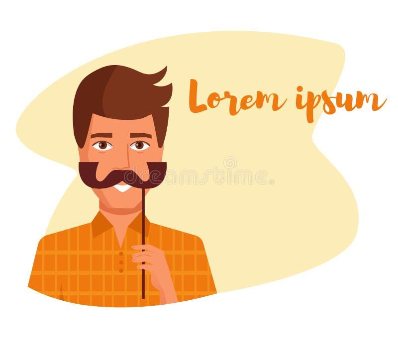 Équipez tenir une fausse moustache sur un vecteur de bâton cartoon Art d'isolement illustration stock