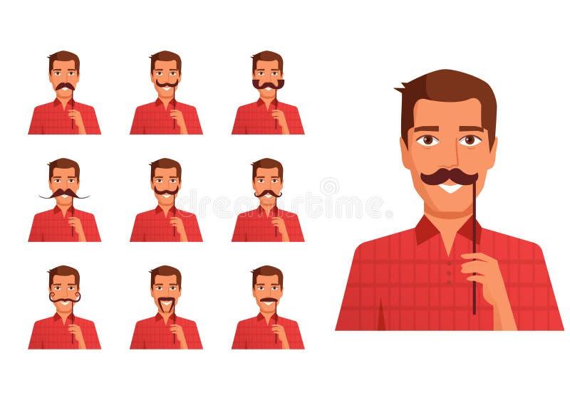 Équipez tenir une fausse moustache sur un vecteur de bâton cartoon Art d'isolement sur le blanc illustration libre de droits