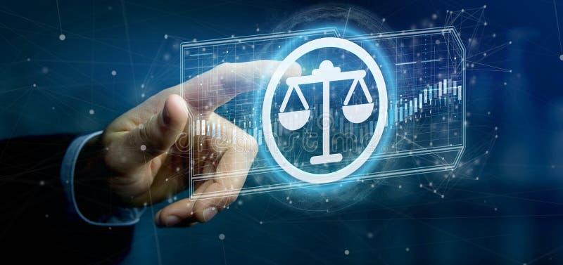 Équipez tenir une icône de justice de technologie sur un rendu du cercle 3d illustration de vecteur