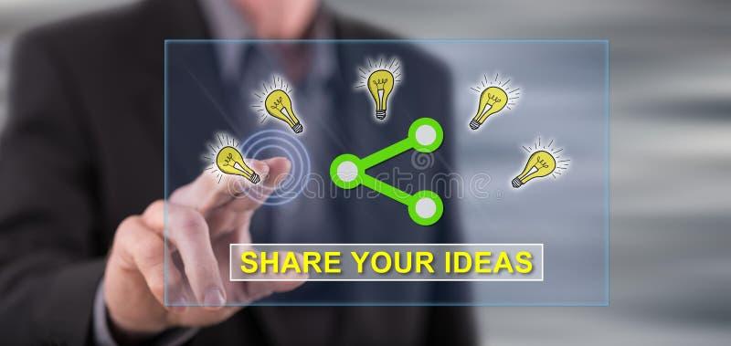 Équipez toucher des idées partageant le concept sur un écran tactile photos stock