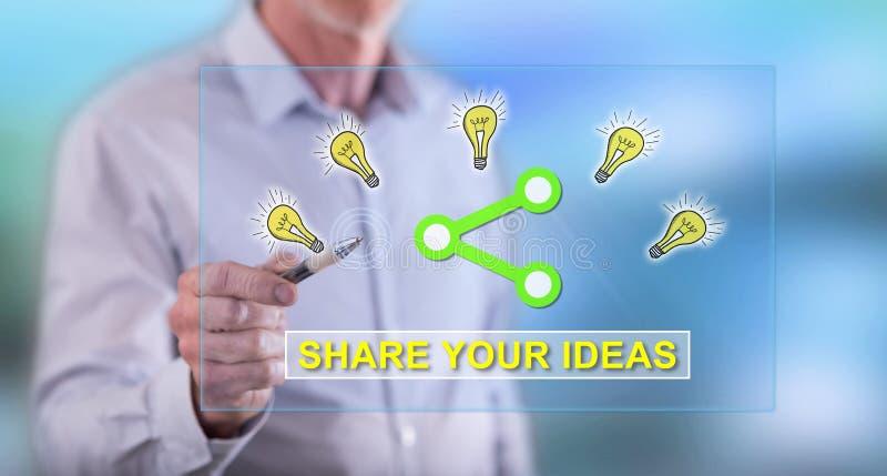 Équipez toucher des idées partageant le concept sur un écran tactile image stock