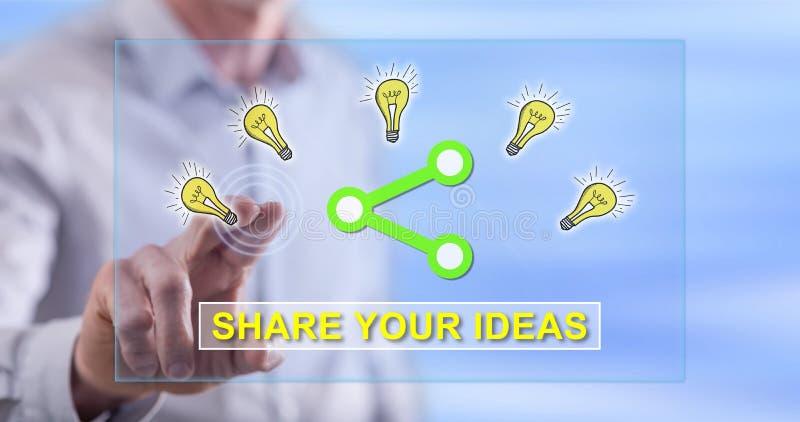 Équipez toucher des idées partageant le concept sur un écran tactile photo libre de droits