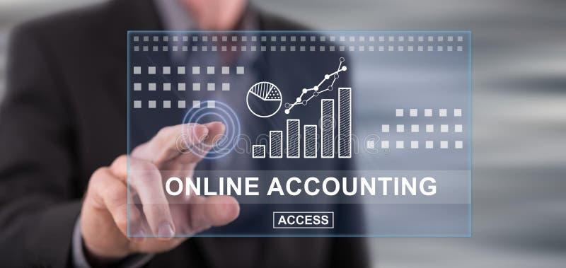 Équipez toucher un concept de comptabilité en ligne sur un écran tactile photos libres de droits