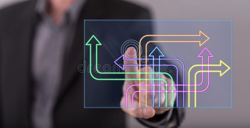 Équipez toucher un concept numérique de décision sur un écran tactile images libres de droits