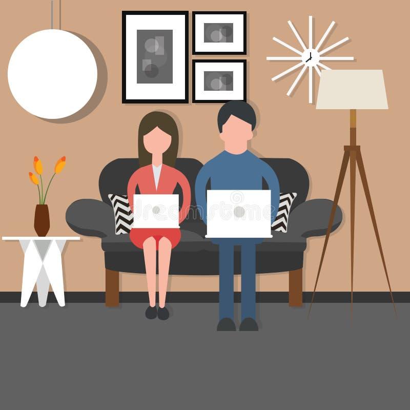 Équipez travailler bussy de couples de femme au salon se reposant de chaise de divan d'ordinateur portable illustration stock
