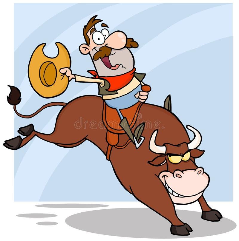 Équitation Bull de cowboy dans le rodéo illustration de vecteur